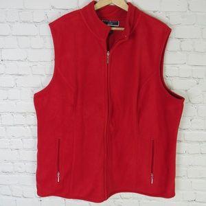 Karen Scott Vest Womens 1X Red Fleece Zeroproof